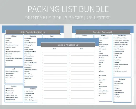 Printable Packing Lists Travel Planner Baby and Toddler Etsy