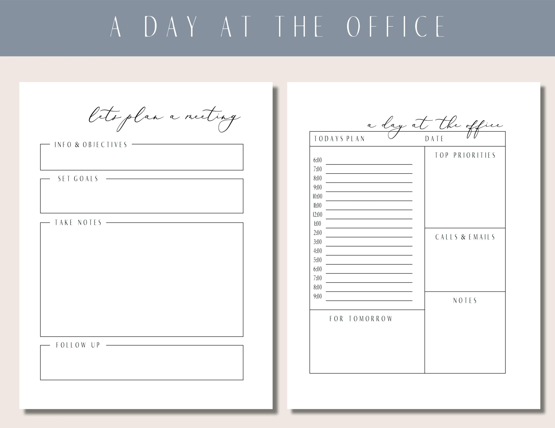 Office Planner Office Planning Worksheet Meeting Planner Etsy