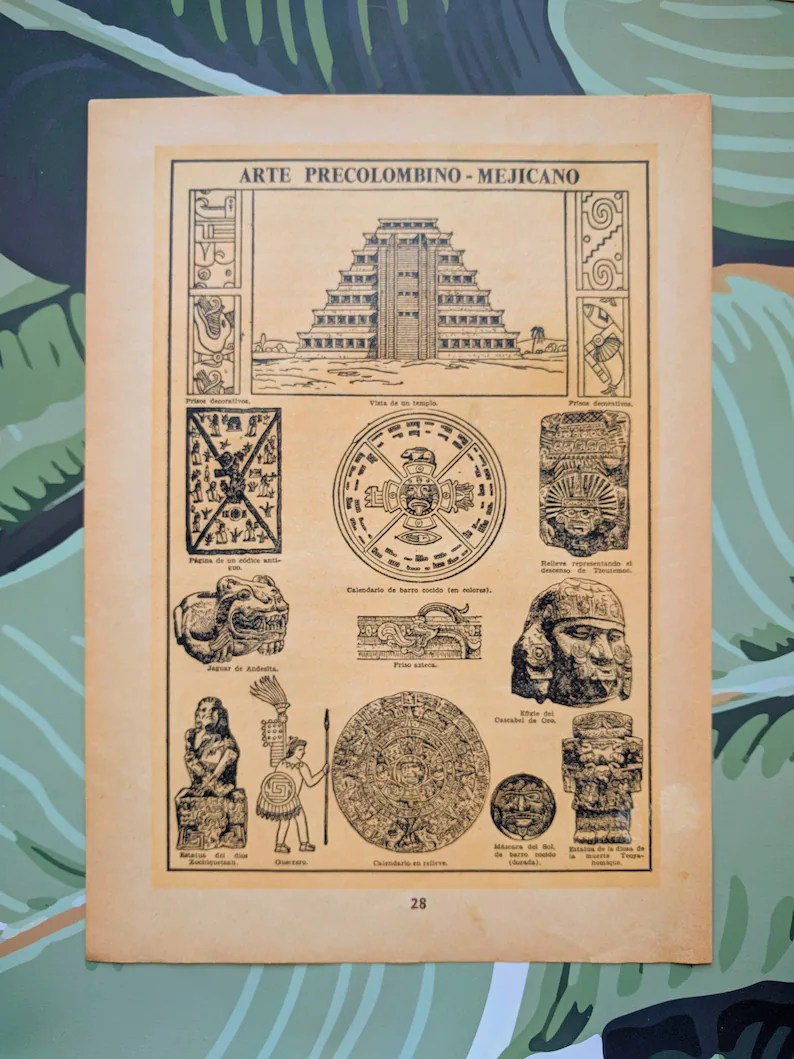 Arte Precolombino Resumen Pre Colombian Mexican Art 1942 Antique Original Spanish Print
