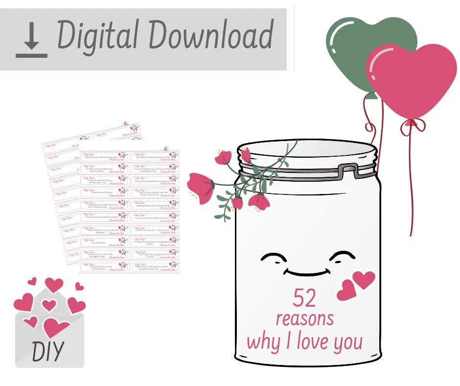 PRINTABLE Love Notes 52 Reasons Why I Love You DIY Kit Etsy