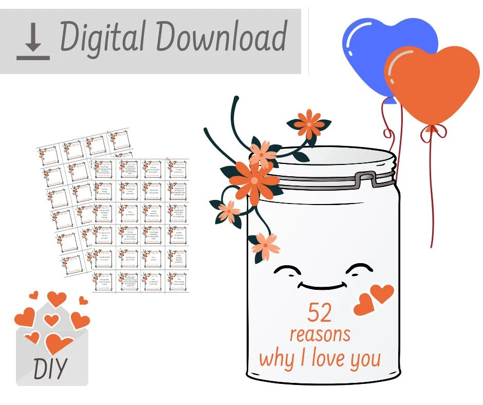 PRINTABLE 52 Reasons Why I Love You Romantic Love Notes Etsy