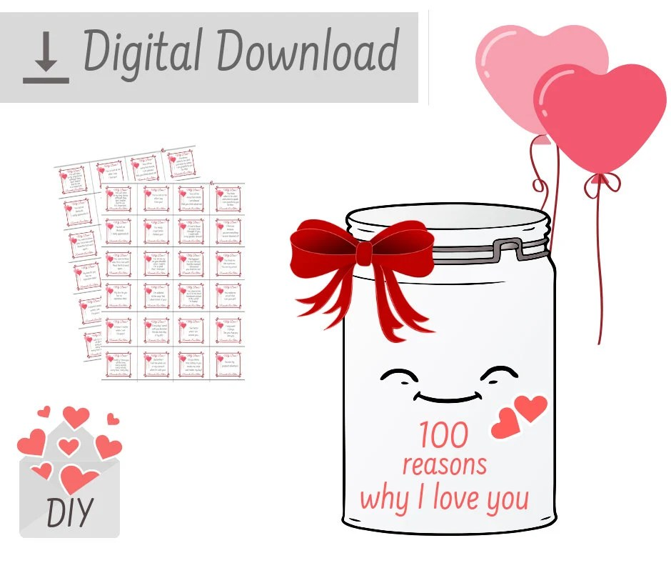 PRINTABLE 100 Reasons Why I Love You Romantic Love Messages Etsy