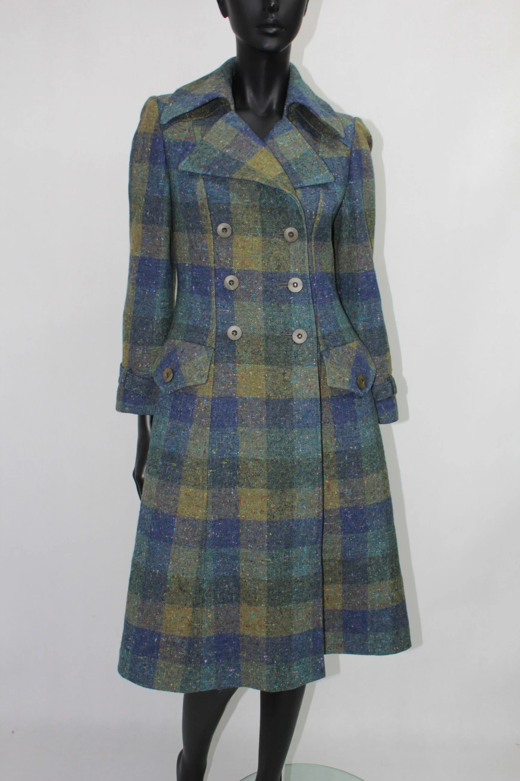 Pet Carrier Olx Vintage Feminella Wool Green Blue Plaid Long Coat Jacket S M Made In England
