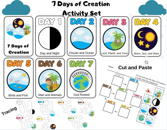 The 7 Days of Creation Printable Downloads   Matching Game   Etsy