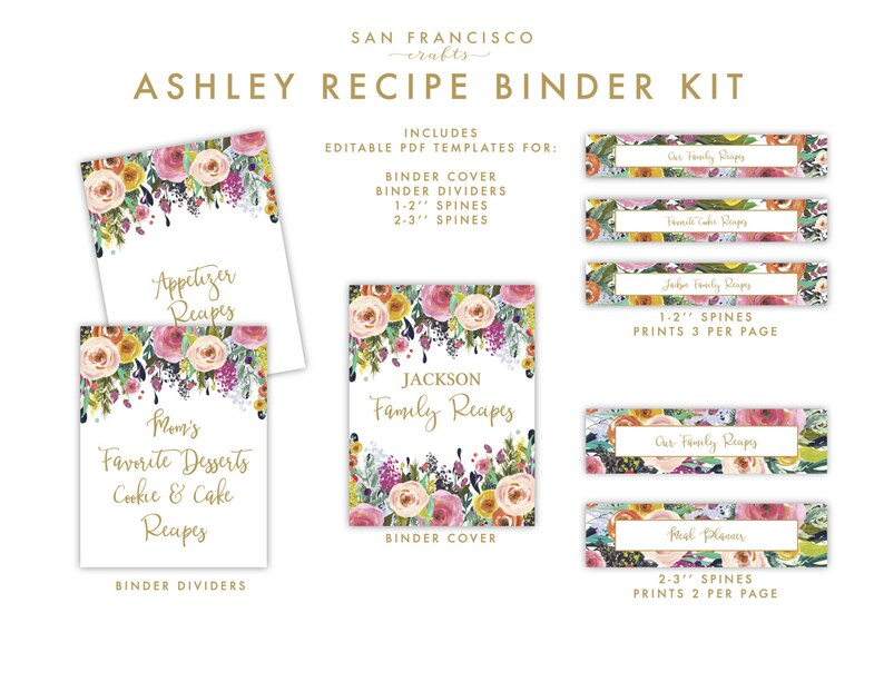 Editable Recipe Binder Kit Cover Dividers and Spine US Etsy