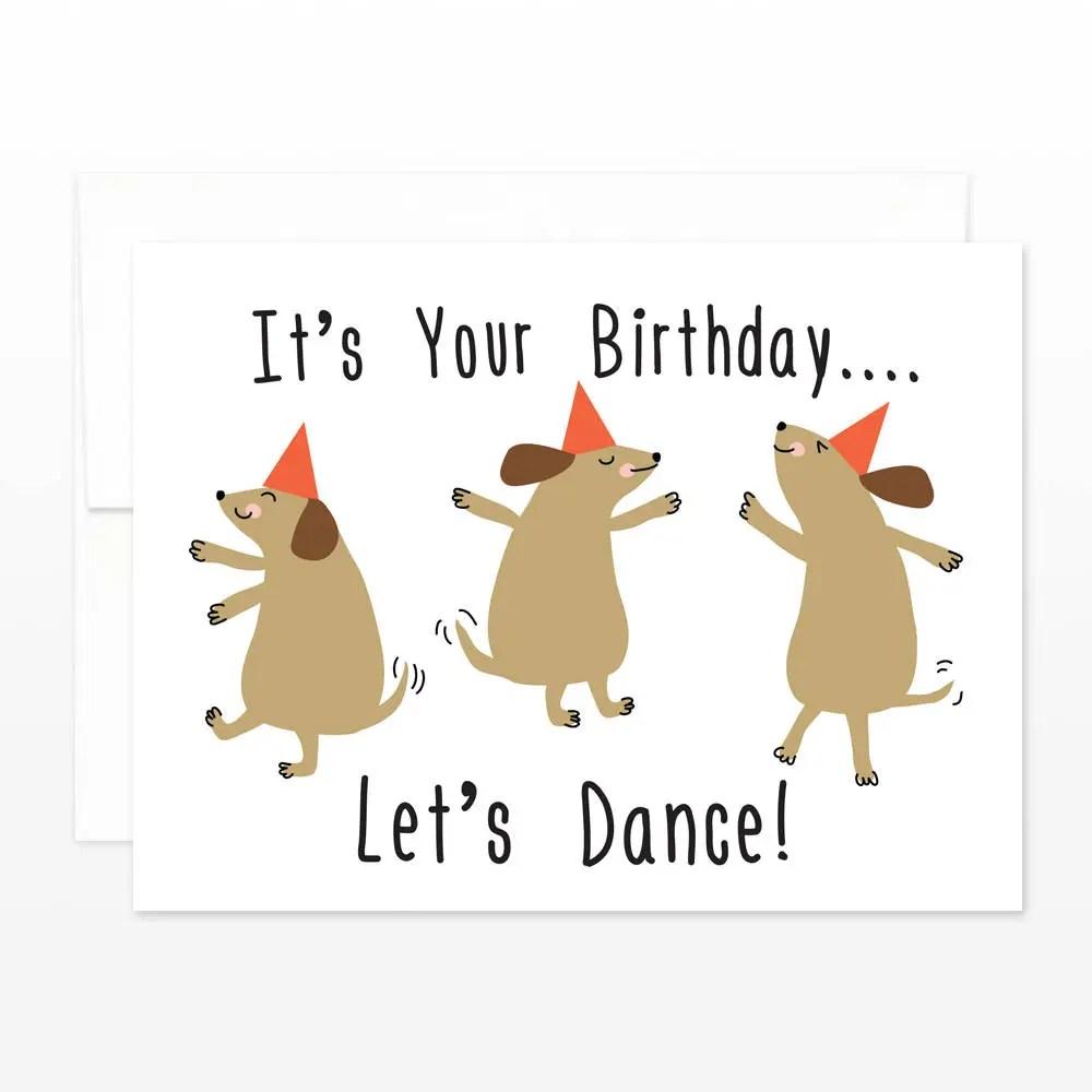 Dancing Dogs Birthday Card Cute Dog Let\u0027s Dance Happy Etsy