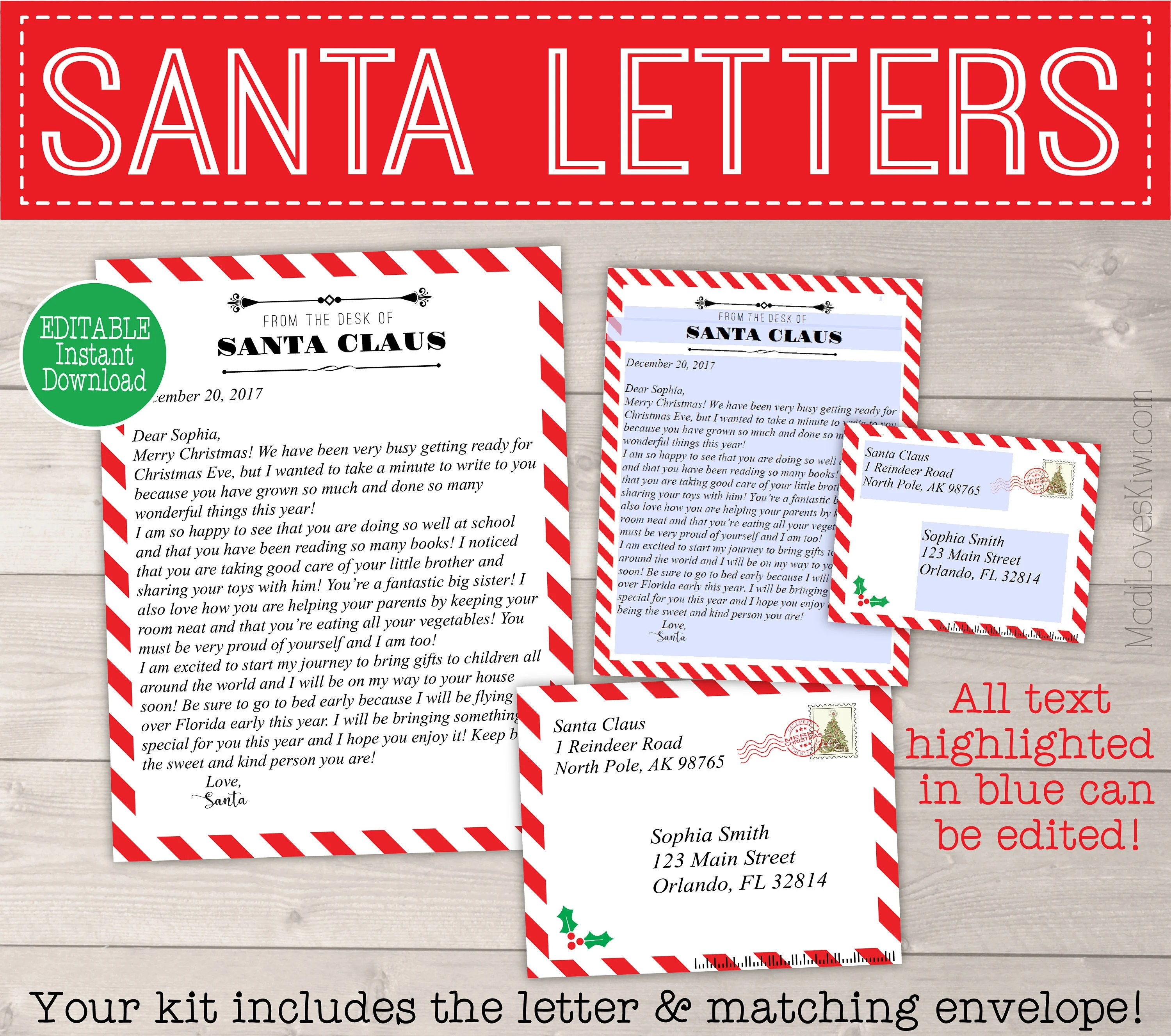 Personalized Letter from Santa Printable Santa Cam Letter Etsy