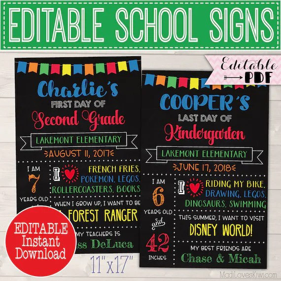 First Day of School Sign Reusable, Last Day Chalkboard Photo Prop