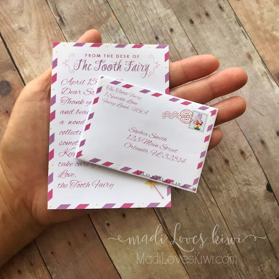 Personalized Girl Tooth Fairy Letter Kit, Printable First Lost Teeth