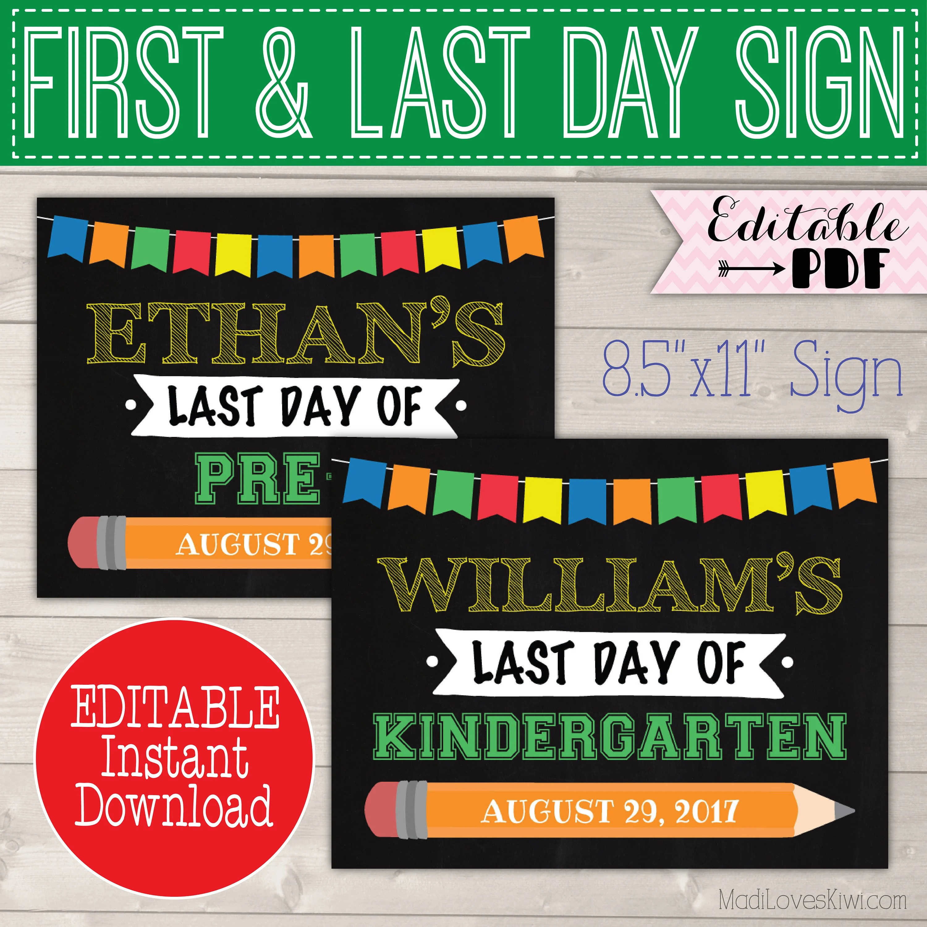 First Day of School Sign Printable, 1st Day Chalkboard Instant
