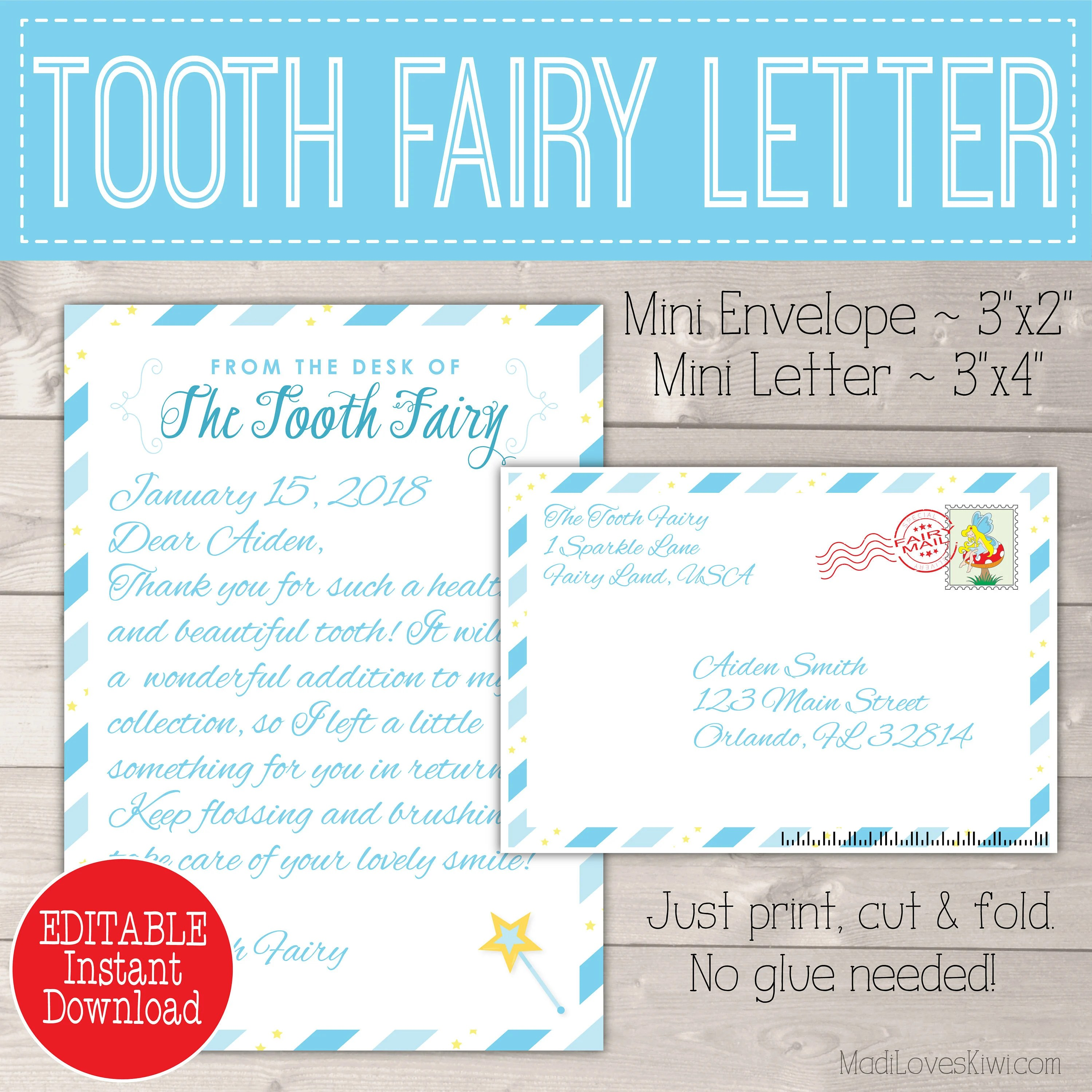 Personalized Tooth Fairy Letter Kit Boy Printable Download Etsy