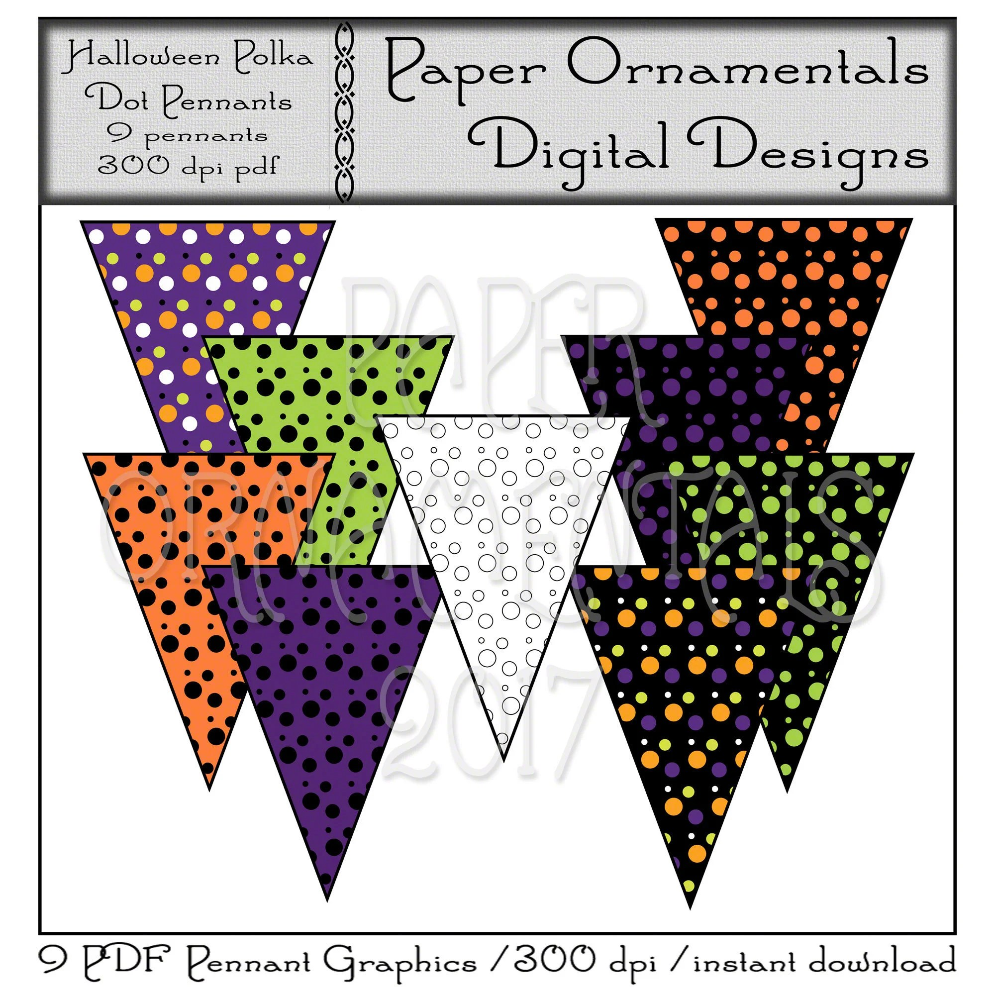 Printable Pennant Banner Instant Download Cute Halloween Art Etsy