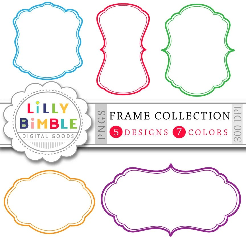 70 Digital Frames clipart Banners, labels Frame collection for cards