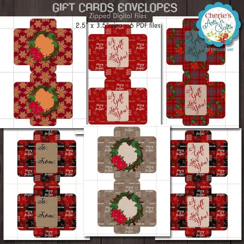 Gift Cards Envelopes Christmas Envelopes Templates Digital Etsy