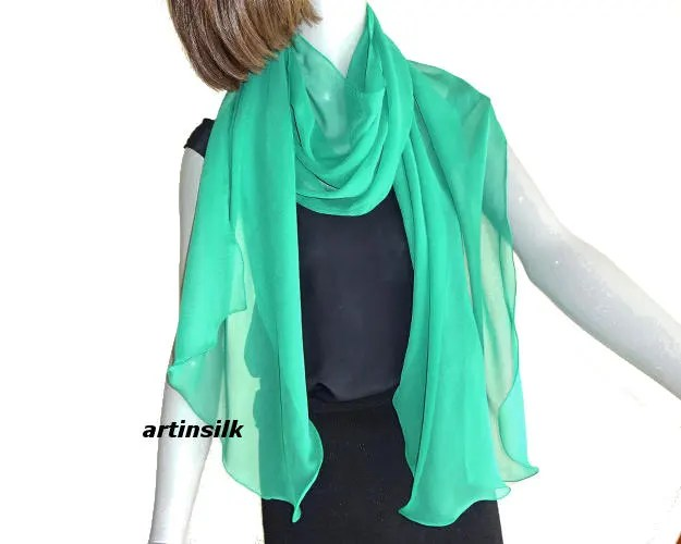 Emerald Green Long Sheer Scarf Silk Chiffon Narrow Wrap Etsy