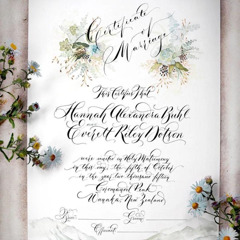 Hand Written Marriage / Wedding Certificate Custom Succulent Etsy