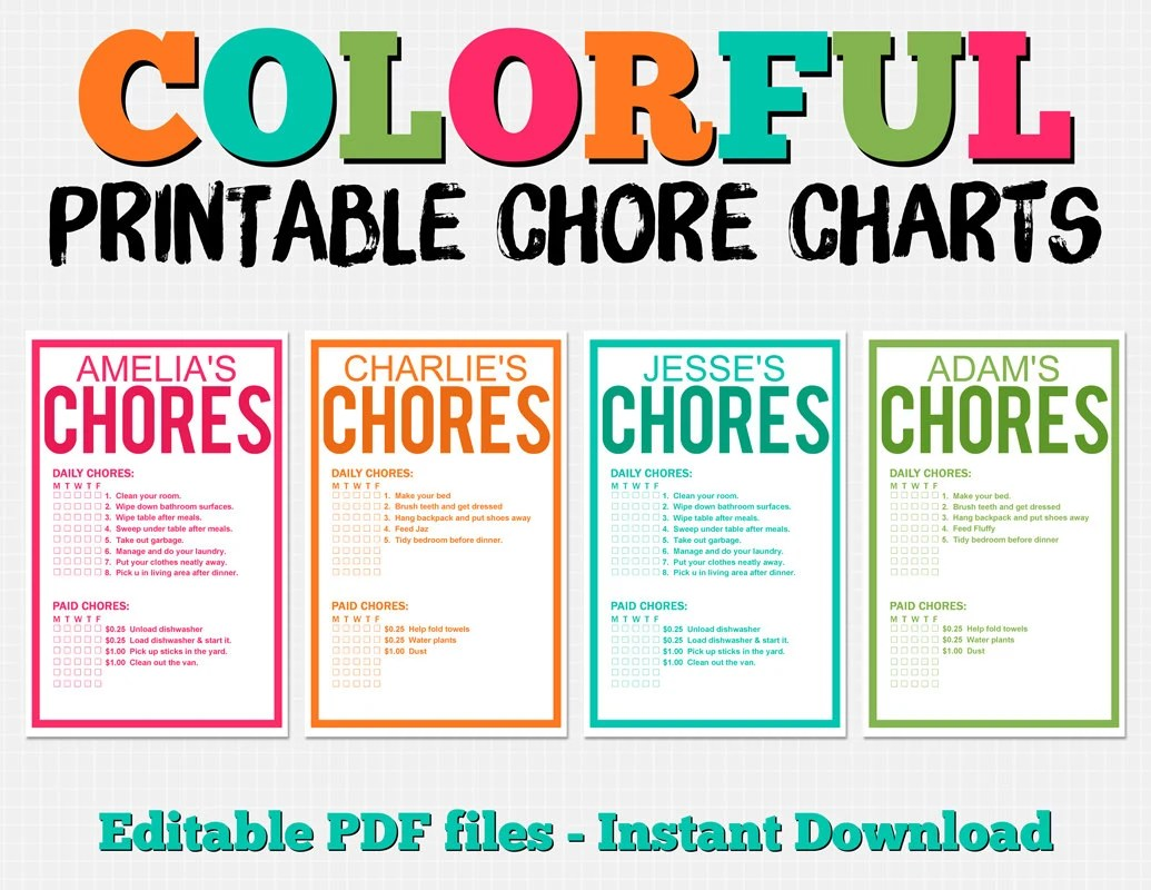 Colorful Customizable Chore Chart Pack Instant Download Etsy