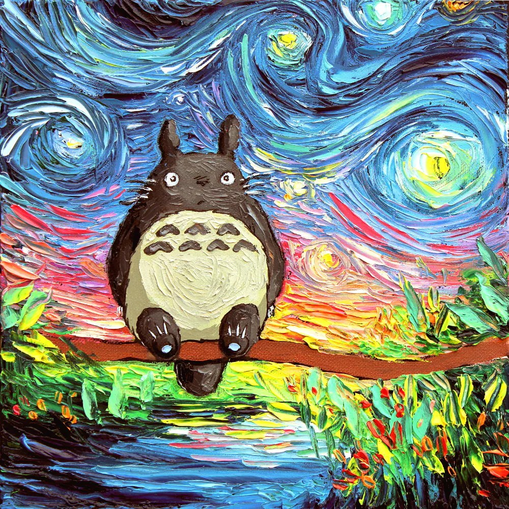 Totoro Bettwäsche Totoro Starry Night Art Canvas Print Van Gogh Never Met His Neighbor Aja 8x8 10x10 12x12 16x16 20x20 24x24 30x30 Choose Size