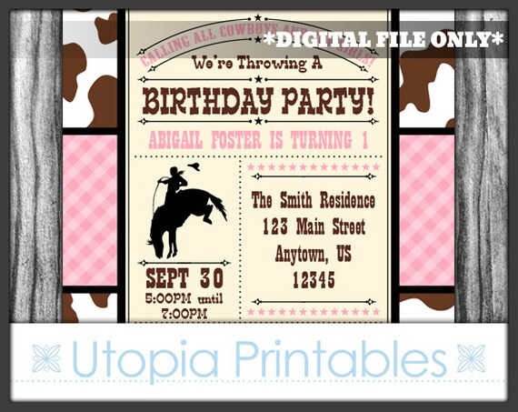Pink Brown Cowgirl Theme 1st Birthday Invitation Girl