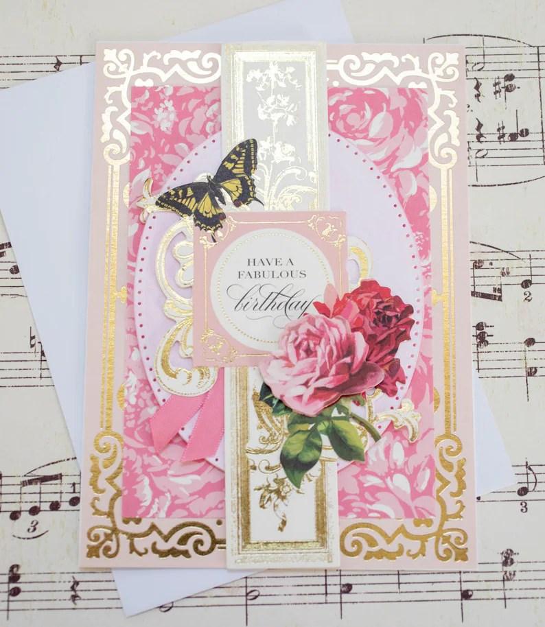Elegant Birthday Card for Her Feminine Card Blank Greeting Etsy