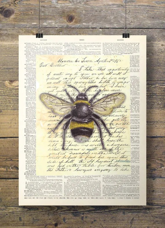 Bumble bee on a book page Printable art vintage dictionary Etsy