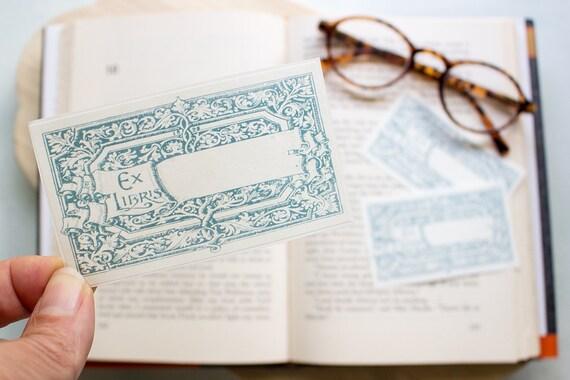 teal scroll bookplates ornate frame book plate Ex Libris Etsy