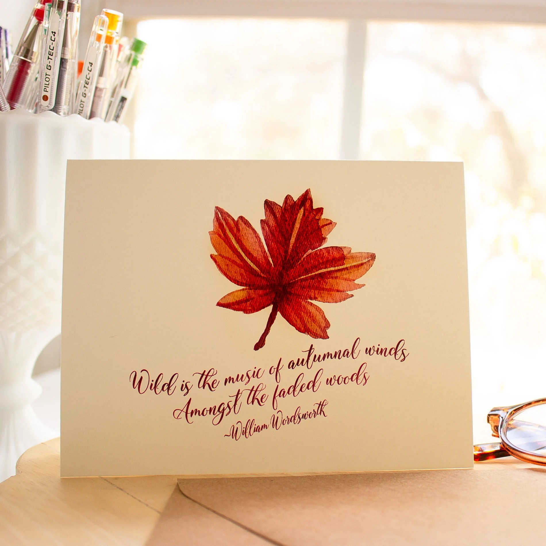Thanksgiving card fall foliage note cards Autumn greeting Etsy