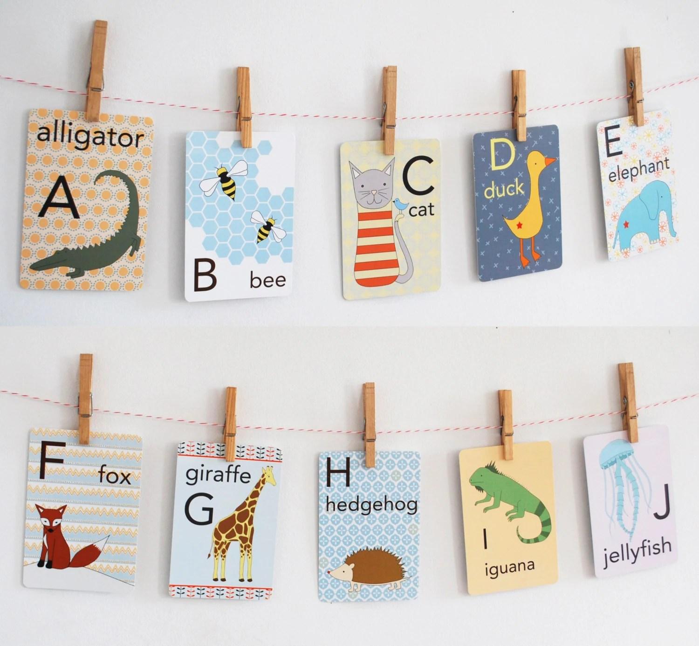 Animal Alphabet Card Set Nursery Wall Cards Animal Alphabet Etsy