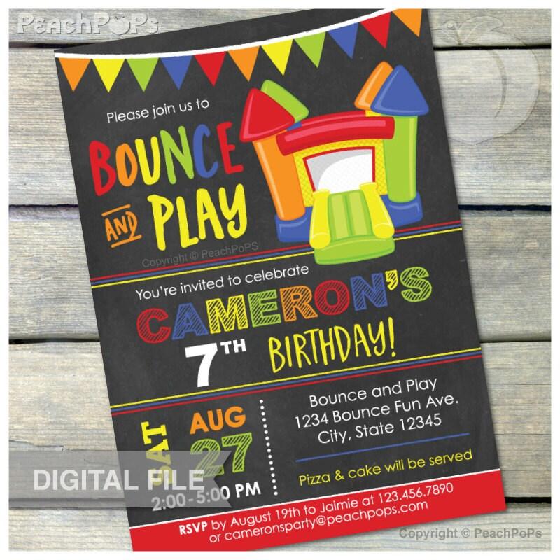 Bounce and Play Bounce House Birthday Chalkboard Invitation Etsy