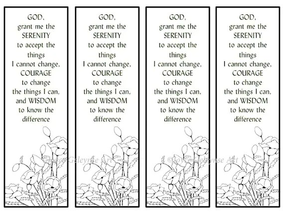 Printable Bookmarks Hand Drawn Poppies Serenity Prayer Etsy