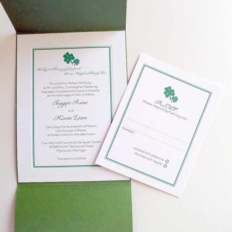 Shamrock Wedding Invitations Etsy