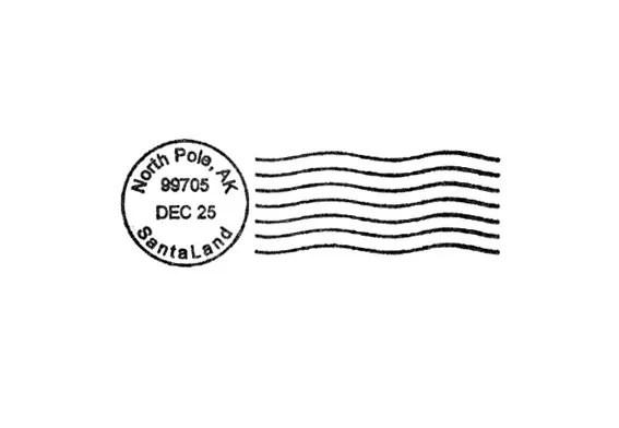 North Pole Santa Postmark For Christmas Rubber Stamp