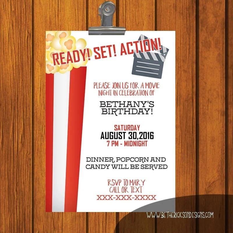 Birthday Invitation / Movie Night Birthday Party / Red and Etsy