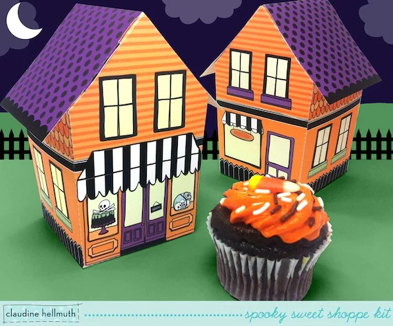 halloween sweet shoppe - cupcake box, candy  favor box, party