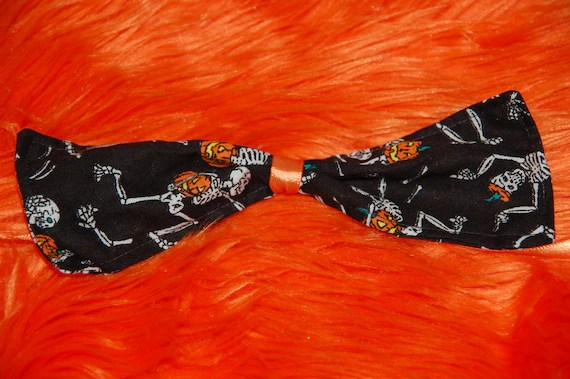 Items Similar To Halloween Skeletons And Pumpkins Dog Bow