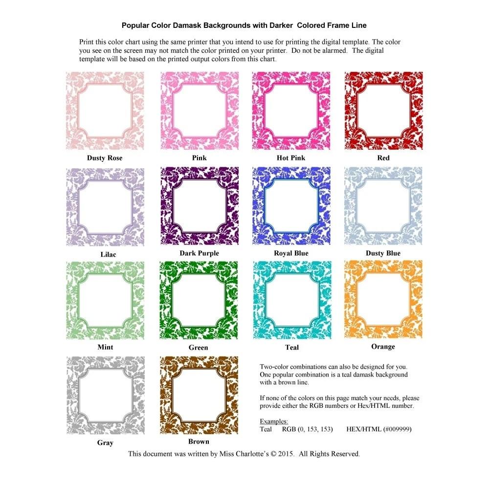 Wedding Printable Color Chart Samples Black Damask Instant Etsy