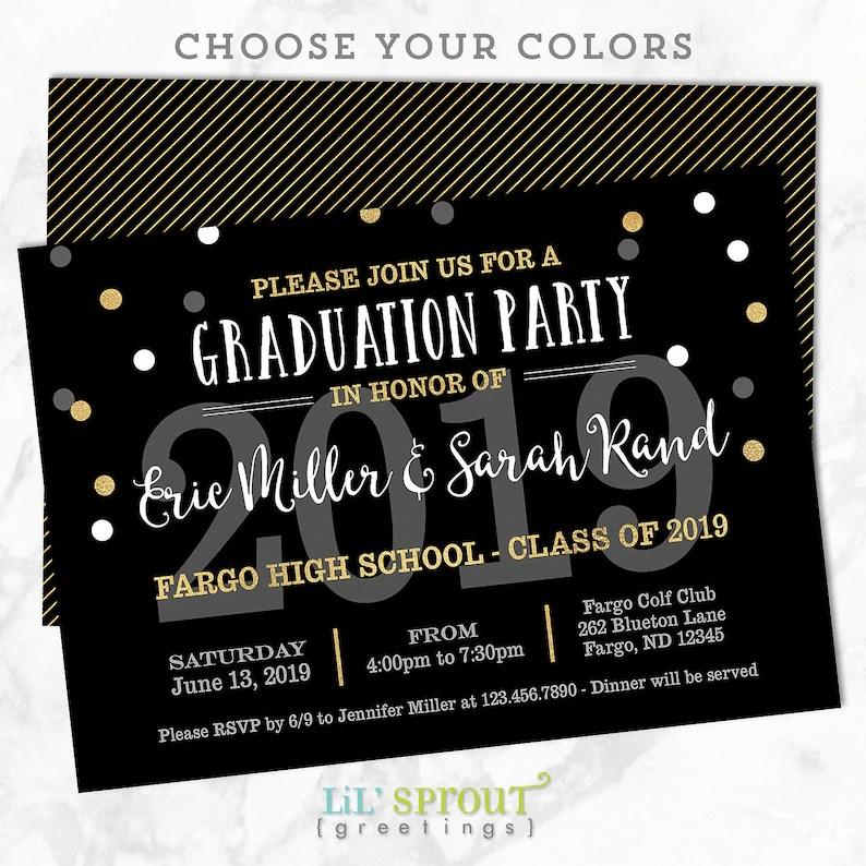 Printable Graduation Invitation Joint Graduation Party Etsy
