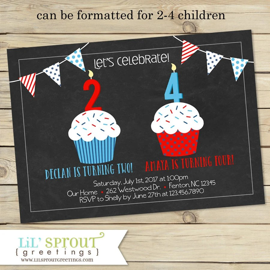 Red White Blue Joint Birthday Invitation Fourth of July Etsy