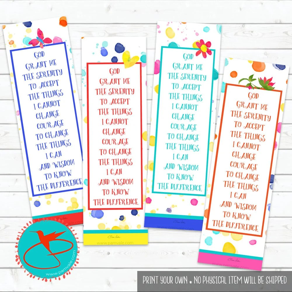 DIGITAL DOWNLOAD serenity prayer printable bookmarks Etsy