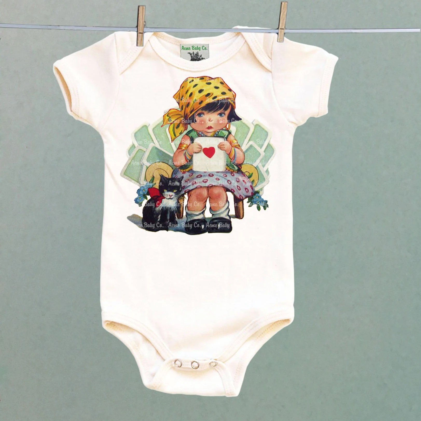 Baby Teller Shower Gift Retro Baby Gypsy Girl Shirt Gypsy One Piece Fortune Teller Baby Gift Baby Layette Roma Baby Short Sleeve Long Sleeve
