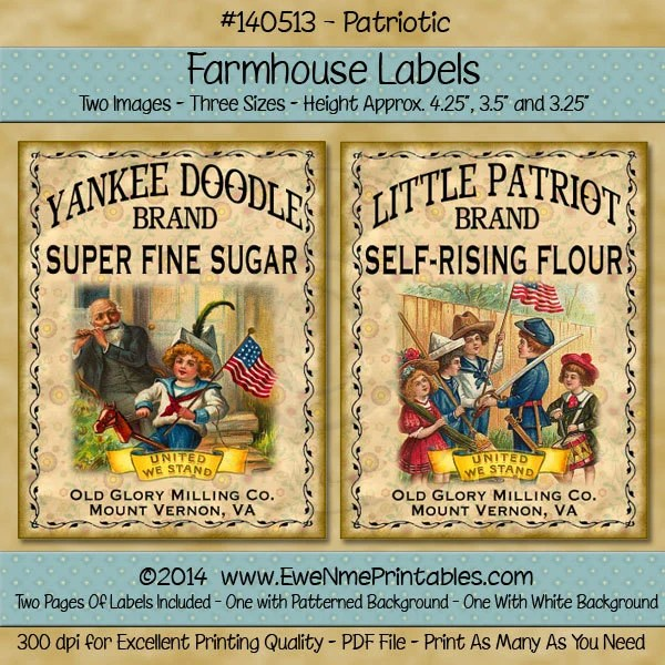 Patriotic Labels Little Patriot Flour Or Yankee Doodle Etsydigital