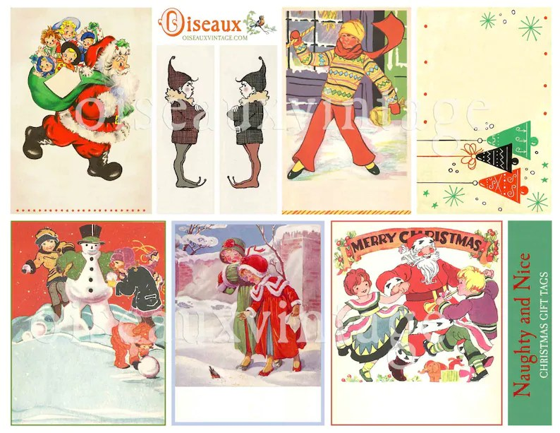 Download Christmas Gift Tag Set Print Your Own Vintage Etsy