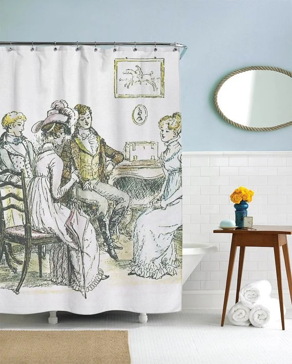 Usa Shower Curtain Jane Austen Gifts Pride And Prejudice Jane Austen Shower Curtain Vintage Shower Curtain Retro Decor Waterproof Fabric Printed In Usa