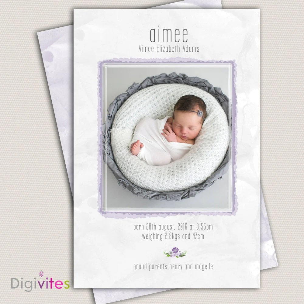 Photo Birth Announcement/Girl Baby Announcement/Printable Photo