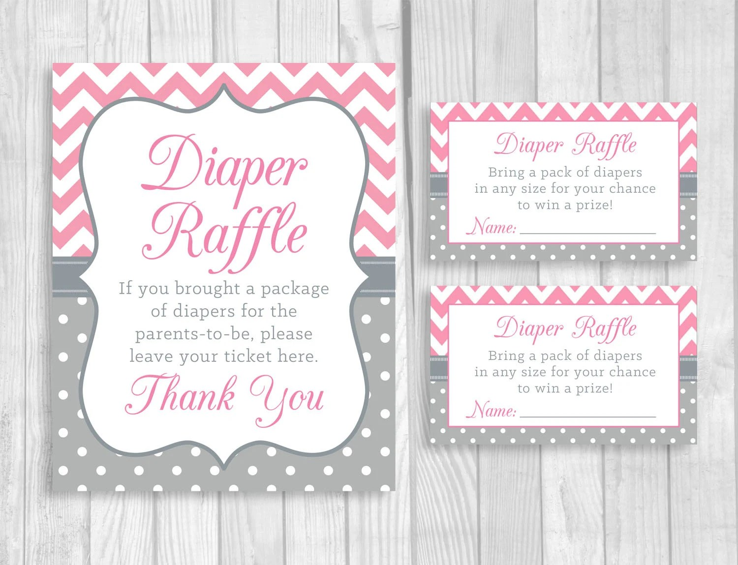 Diaper Raffle Pink and Gray 5x7 8x10 Printable Sign and Sheet Etsy