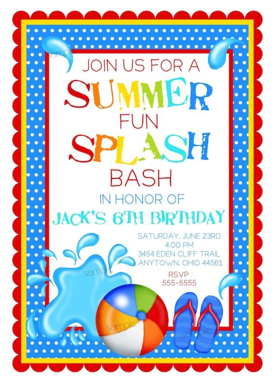 Pool Party Invitations, Splash Bash invitations, Boys, Birthday pool