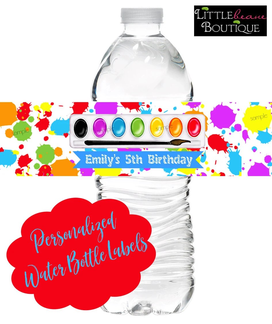 Art birthday party water bottle labels Paint Box Painting Etsy