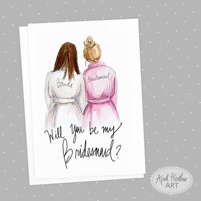 Bridesmaid PDF Download printable cards brunette bride Etsy