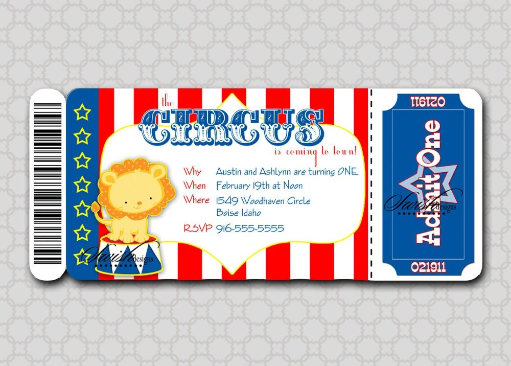 Printable Circus Birthday Invitation Boarding Pass Ticket for the