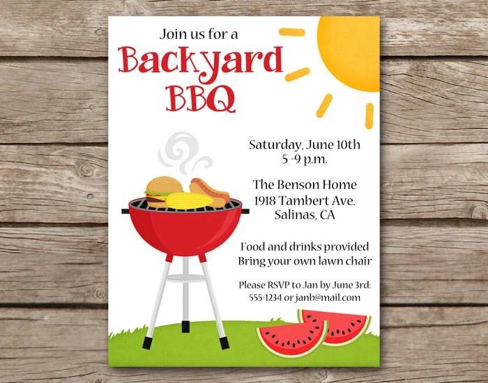 BBQ Invitation bbq Invite Barbecue Invitation Barbeque Etsy